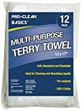 #6: Pro-Clean Basics A51745 Multi-Purpose Terry Towels, 14in x 17in, Light Weight: 12-Pack