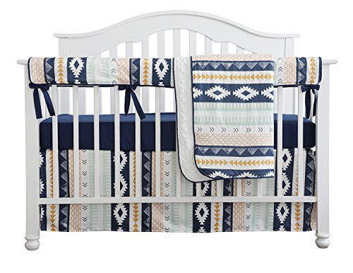 Baby Boy Crib Bedding Arizona Woodland Tribal Aztec Buck Nursery Crib Skirt Set Minky Blanket Navy Crib Sheet Crib Rail Bedding Set (Navy Aztec Buck, 4 pieces set)