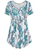 Plus Size Clothing for Women,Bebonnie Henley V Neck Short Sleeve Casual Print Comfy Tunic Shirt Top Green Grey XXL