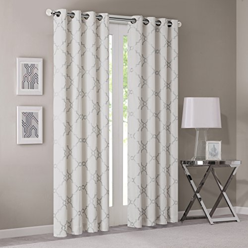 Madison Park Ivory Curtains For Living Room, Contemporary Modern Silver Grommet Curtains For Bedroom, Saratoga Print Fabric Light Window Curtains, 50X63, 1-Panel (Ivory Contemporary Print)