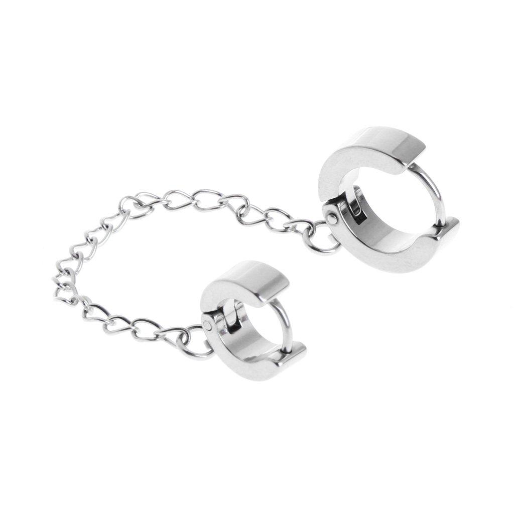 Double Highed Hoop Stainless Steel Chain Tassel Earrings for Men Or Women