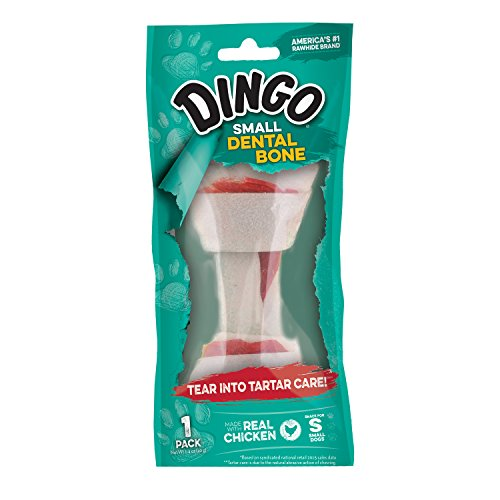 Dingo Dental Bone for Small Dogs, Chicken, 1.4-Ounce Cotton Knotted Bones