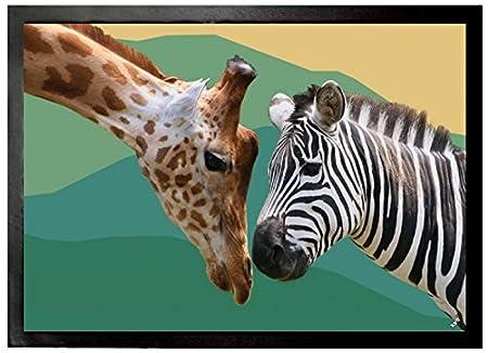 1art1® Animals u2013 Kiss Nose Against Nose Giraffe and Zebra Door Mat (70 & 1art1® Animals - Kiss Nose Against Nose Giraffe and Zebra Door Mat ...