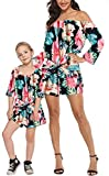 YT Baby Family Matching Outfits Mommy and Me Flower Print Off Shoulder Long Sleeve Short Jumpsuit Romper Dress