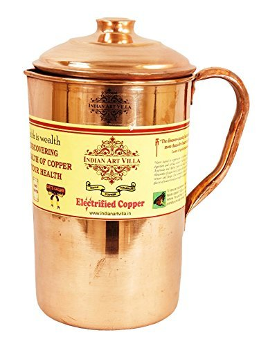 IndianArtVilla Pure Copper Water Pitcher Jug | 54 OZ Healthy Storage Container | For Home, Kitchen, Restaurants with Yoga and Ayurveda Benefits