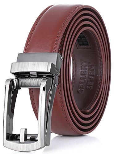 - Gallery Seven Leather RatchetBelt For Men - Adjustable Click Belt - Casual Dress Belt - Brown - Style 8 - Adjustable from 38