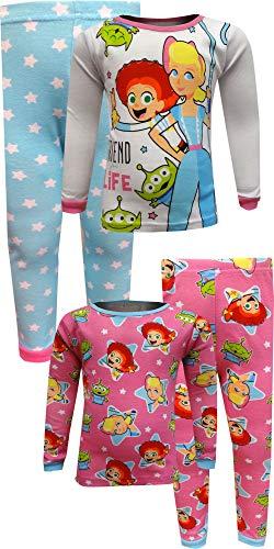 Pixar Girls' Toddler Toy Story 4-Piece Cotton Pajama Set, Friends for Life, 3T (Toy Story Jessie Pajamas)