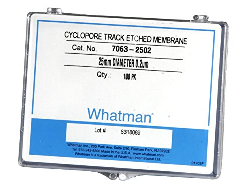 Whatman 7063-2502 Black Polycarbonate Cyclopore Track-Etched Membrane Filters, 25mm Diameter, 0.2 Micron (Pack of 100) (Polycarbonate Filters Membrane)