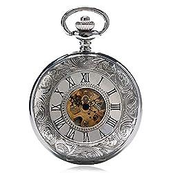 Vintage Steampunk Roman Number Quartz Pocket Watch Retro Necklace Pendant With Chain For Men Women Reloj De Bolsillo Gifts 5 Thick chain