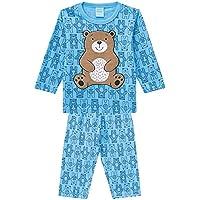 Pijama Infantil menino manga longa azul urso 100% algodão tamanho 01