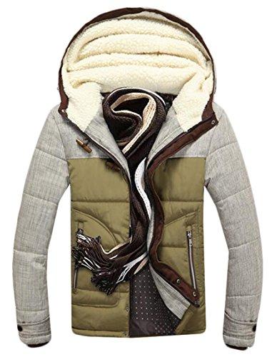 Men's Down Fur Color Winter US Jackets Block Hood XL with ArmyGreen Warm EKU HpXwdqX