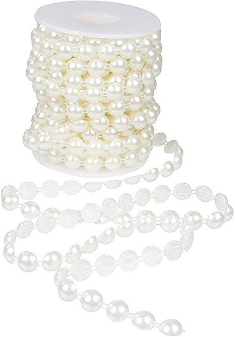 66 FEET 8mm White Pearl Bead Roll Pearls Garland Plastic Acrylic Christmas Gift Wrapping Decor Gatsby Large Pearls Sale String Wedding Tree