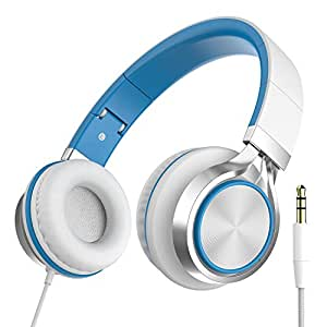 Intone Ms200 Stereo Low Bass Folding and Adjustable Headphone Earbuds - White / Blue