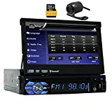 Eincar AUDIO BV9976B Single-DIN 7 inch Motorized Touchscreen DVD Player Receiver Detachable Panel Car Radio Stereo Bluetooth Wireless Remote 8GB GPS Navigation+Free Camera