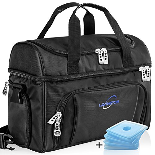 Lavington Insulated Cooler Bag - Large Lunch Bag - Picnic and Travel Tote -Free 4 mini Ice Packs Included - Multiple Pockets & Insulated Compartments - Durable Zippers & Handles. (Lunch Box Ice Bag)