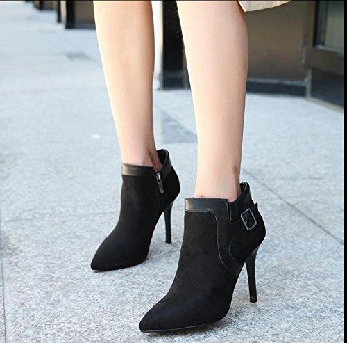 Punta Sat Invierno Negro Mujer KHSKX Zapatos De De La De Cremallera Bota 10Cm Nuevo Lateral La 8tdxwxqFZ