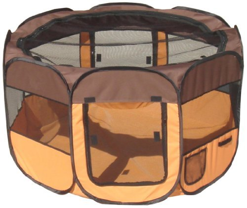 Pet Life All-Terrain' Lightweight Easy Folding Wire-Framed Collapsible Travel Dog Playpen, Large, Brown and Orange by Pet Life