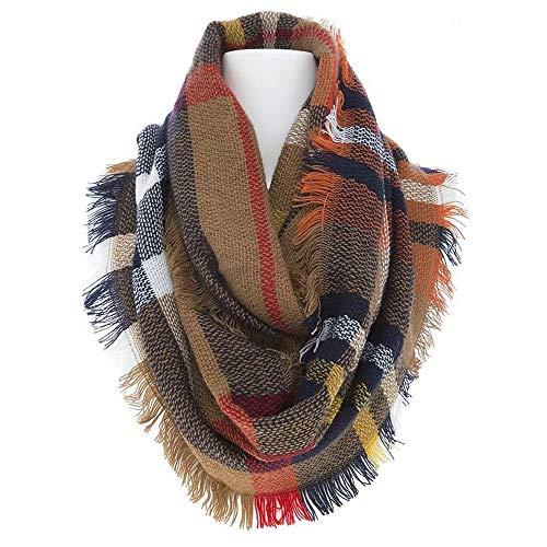 8Layer's Cozy & Warm Fashion Plaid Infinity Scarf - Many Designs (Plaid Brown/Orange)