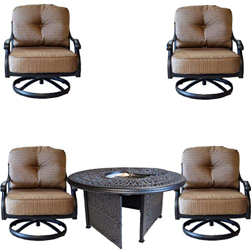 Club Seating Pit Table Fire - Sunvuepatio Elisabeth Cast Aluminum 5 Piece Deep Seating Set with 52