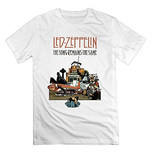 FONY Men's The Song Remains The Same Album Led Zeppelin Short Printing Shirts