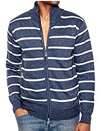 Enimay Men's Turtleneck Zip Up Long Sleeve Sweater With White Stripes Cardigan Navy