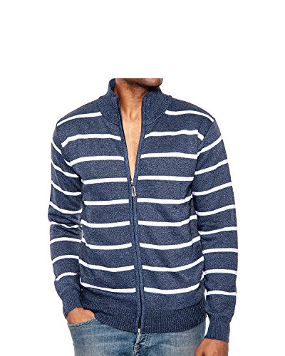Enimay Men's Turtleneck Zip Up Long Sleeve Sweater With White Stripes Cardigan Navy Small