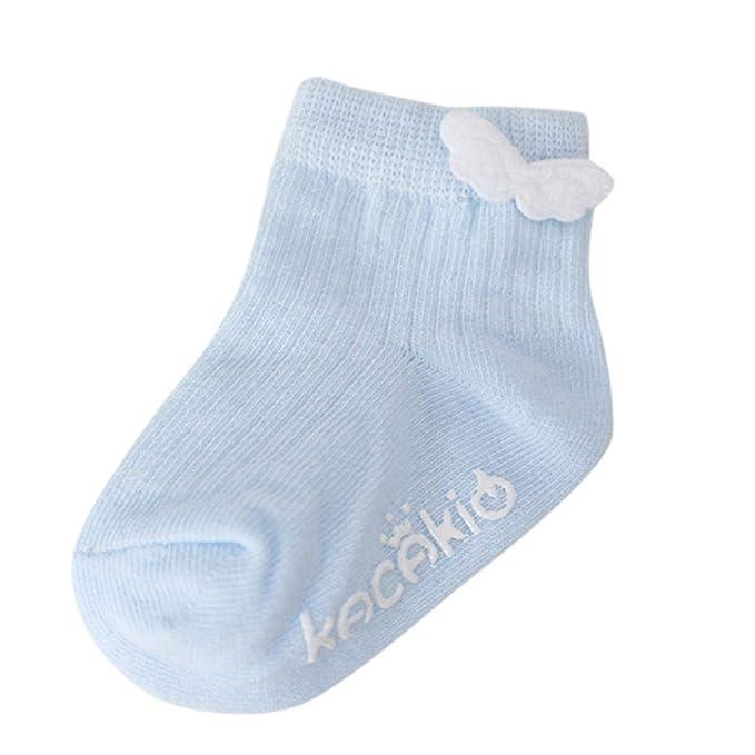 Sencillo Vida Calcetines Socks Antideslizantes para Bebe Recién Nacido Niñas Niños Baby Socks Wings Letter Print 1 Pares