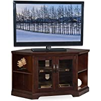 46 in. Corner TV Stand with Bookcase in Chocolate Cherry Finish