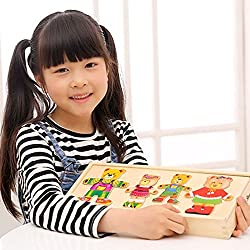 FANSKtek Kid's Multifunctional Children Educational Funny Toys Bear Changing Clothes Wooden Puzzle Toys Good Gifts for Kid