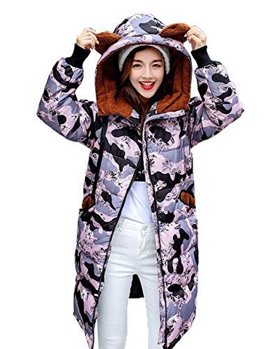 Glamorous Pattern Lila Stampate Donna Hot Cerniera Tasche Manica Cappuccio Giaccone Invernali Giubotto Stile Elegante Semplice Piumini Con Anteriori Dolce Lunga Moda Mantello Imbottita A8q70nBx