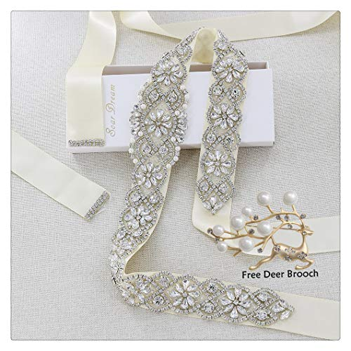 - Ivory Bridal Belt Silver Rhinestones Crystal Bridal Sash Wedding Bridal Brooch for Bridal Dresses