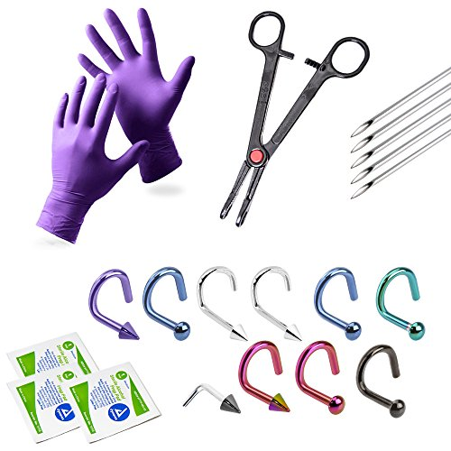 20-Piece Nose Piercing Kit - 10 Nose Piercing Jewelry, Gloves + More
