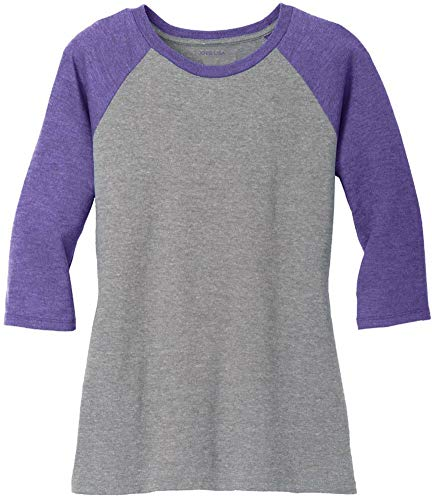 Joe's USA Ladies 3/4 Raglan Baseball T-Shirt-Purple/Grey-XL