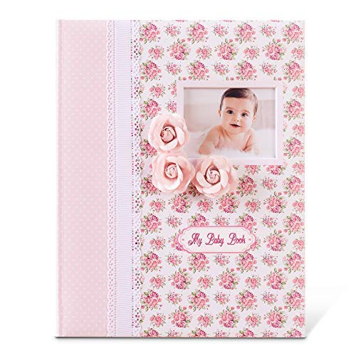 Baby Memory Book - Milestone Journal for Babies - Classic Design for Baby Girl - First 5 Years Scrapbook & Photo Album - Ideal Baby Shower and Mothers Birthday Gift Set