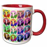 3dRose Sandy Mertens Pop Art Designs - Cartoon Cow Pop Art - 11oz Two-Tone Red Mug (mug_8070_5)