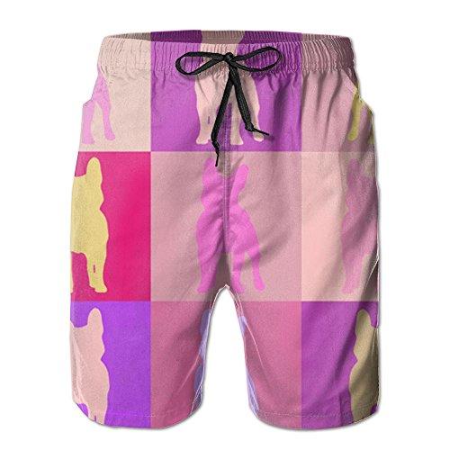Leisue Quarters French Bulldog Mosaic Quick Dry Elastic Beach Shorts Boy ()