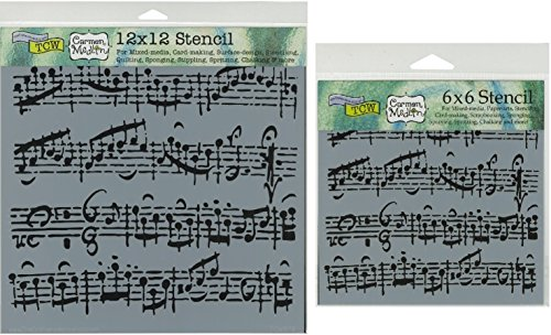 The Crafter's Workshop Set of 2 Stencils Sheet Music 12