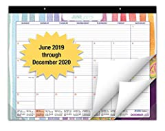 This large sized 22x17 Weekly Desk Calendar 2019-2020 offers unique, colorful patterns each week. With thick paper, perforated tear away sheets & hole punches for wall hanging, this 2019 Desk Calendar will be a perfect fit for your home o...