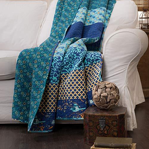 Lush Decor Royal Empire Throw-Floral Stripe Reversible Design Blanket-60