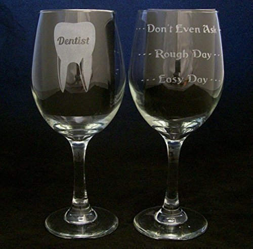 Dentist Good Day Bad Day Don't Even Ask (20oz Large) Wine Glass. This glass makes a great gift idea for your favorite dentist - Birthday, Christmas, or any occasion.