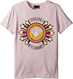 Versace Kids Girl's Short Sleeve Tee With Logo Graphic (Big Kids) Pink 11-12