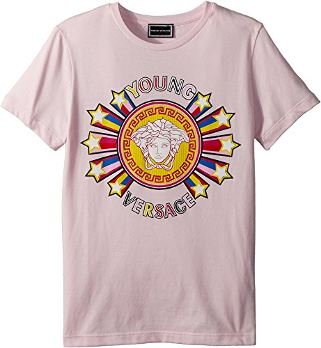 Versace Kids Girl's Short Sleeve Tee With Logo Graphic (Big Kids) Pink 11-12 by Versace