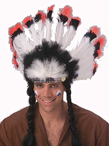 Rubie's Costume Deluxe Native American Headdress, White, One (Indian Costumes With Headdress)