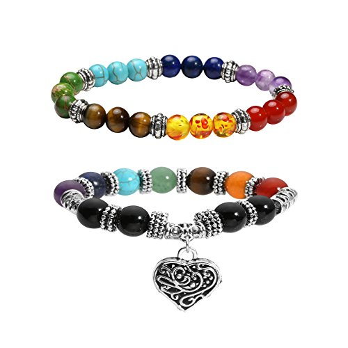 Milakoo 2 Pcs 10 MM Beads Yoga Reiki Healing Bracelet 7 Chakra Beads Hollow Heart Charm Bracelet