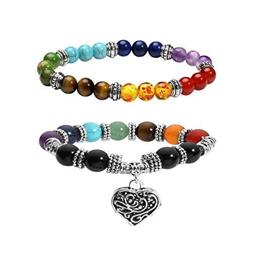 Milakoo 2 Pcs 10 MM Beads Yoga Reiki Healing Bracelet 7 Chakra Beads Hollow Heart Charm - Charm Heart Split