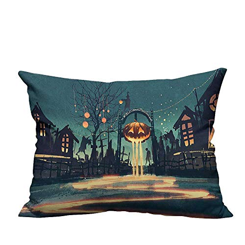 Decorative Throw Pillow Case House Halloween Theme Night Pumpkin and Haunted House Ghost Town Artful Teal Ideal Decoration(Double-Sided Printing) 19.5x30 inch ()