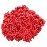 Topixdeals Silk Cream Roses Flower Head, Red (50 Pieces)