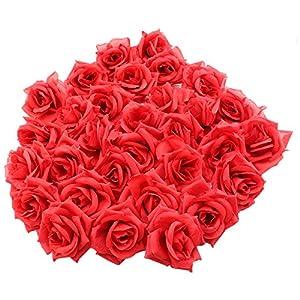 Topixdeals Silk Cream Roses Flower Head, Artificial Flowers Heads for Wedding Flowers Accessories Make Bridal Hair Clips Headbands Dress (50pcs Red) 85