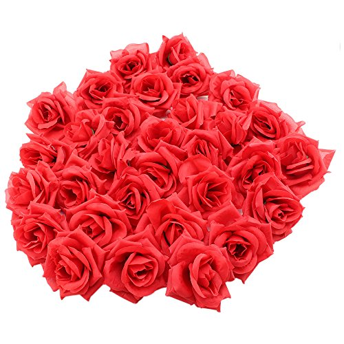 Topixdeals Silk Cream Roses Flower Head, Artificial Flowers Heads for Wedding Flowers Accessories Make Bridal Hair Clips Headbands Dress (50pcs Red)