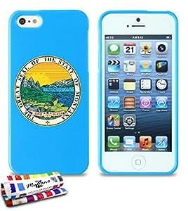 Carcasa Flexible Ultra-Slim APPLE IPHONE 5 de exclusivo motivo [Sello Montana] [Azul] de MUZZANO  + ESTILETE y PAÑO MUZZANO REGALADOS - La Protección Antigolpes ULTIMA, ELEGANTE Y DURADERA para su APPLE IPHONE 5